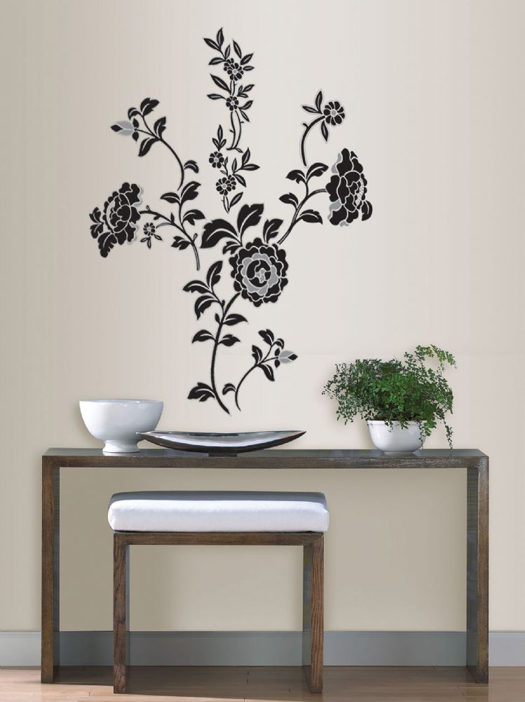 Brocade Black Floral Wall Art Sticker Kit